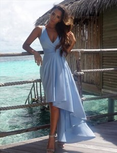Sky Blue Sleeveless Deep V-Neck Short High-Low Prom Dress With Belt