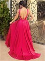 Red Elegant Sleeveless Deep V-Neck A-Line Prom Dress With Open Back