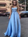 Light Blue Strapless Empire Waist A-Line Prom Dress With Lace Bodice