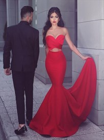 Red Strapless Sweetheart Cut Out Waist Floor Length Mermaid Prom Dress