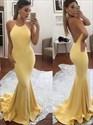 Yellow Spaghetti Strap Halter Backless Floor Length Mermaid Prom Dress