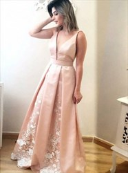 Peach V-Neck A-Line Sleeveless Long Prom Dress With Lace Embellished
