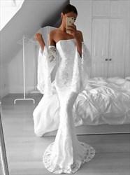 White Lace Strapless Floor Length Mermaid Prom Dress With Bell Sleeve