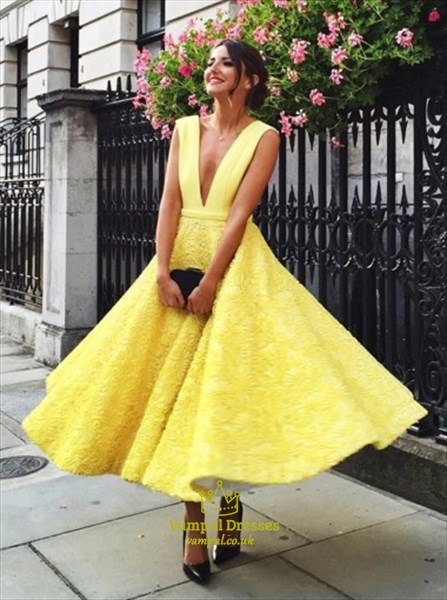 Yellow Lace Ankle Length Sleeveless Deep V Neck A Line