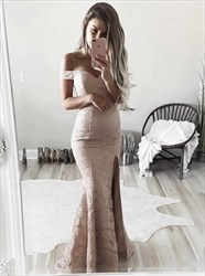 Off The Shoulder Floor Length Mermaid Lace Prom Dress With Side Split
