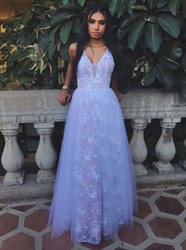 Lavender Lace V-Neck Sleeveless A-Line Prom Dress With Tulle Overlay