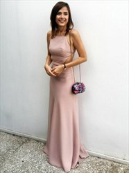 Spaghetti Strap Open Back Floor Length Prom Dress With Cut Out Waist