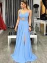 Light Blue Spaghetti Strap Cut Out Waist Chiffon Prom Dress With Split