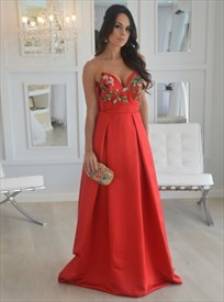 Orange Strapless Embroidery Embellished A-Ling Floor Length Prom Dress