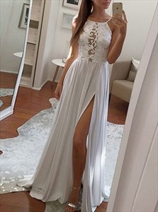 White A-Line Spaghetti Strap Lace Chiffon Evening Gown With Side Split