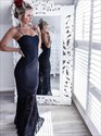 Navy Blue Spaghetti Strap Floor Length Mermaid Prom Dress With Lace