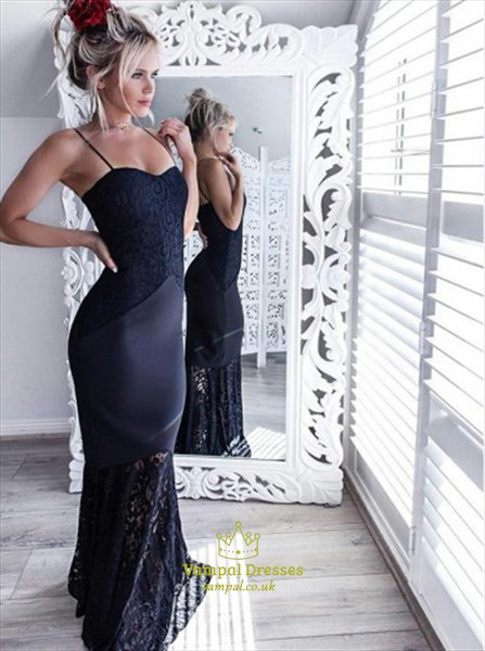 b3b1845be7d665 Navy Blue Spaghetti Strap Floor Length Mermaid Prom Dress With Lace ...