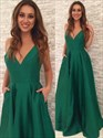 Elegant Emerald Green A-Line Sleeveless V-Neck Floor Length Prom Dress