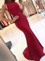 Elegant Burgundy Lace Sleeveless Mermaid Prom Dress With Cut Out Waist