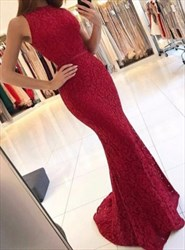 Elegant Burgundy Lace Sleeveless Mermaid Prom Dress With Cut Out Waist