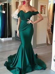 Emerald Green Off The Shoulder Ruched Embellished Mermaid Prom Dress