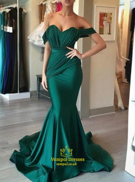 3623caa6699 Emerald Green Off The Shoulder Ruched Embellished Mermaid Prom Dress ...