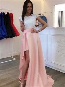 Pink And White A-Line Cap Sleeve Lace Bodice Floor Length Prom Dress