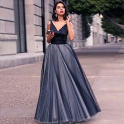 Backless Floor Length A-Line Sleeveless V-Neck Tulle Bottom Prom Dress