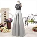 Elegant Sleeveless V-Back A-Line Evening Dress With Black Lace Bodice