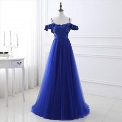 Royal Blue Open Back Cold Shoulder A-Line Embellished Tulle Prom Dress