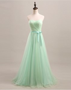 Light Green Strapless Sweetheart A-Line Tulle Long Bridesmaid Dress