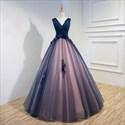 Navy Blue Sleeveless V-Neck Embellished Floor Length A-Line Ball Gown
