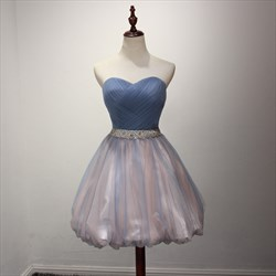 Short Strapless Sweetheart A-Line Homecoming Dress With Ruched Bodice