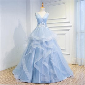 Light Blue Sleeveless V-Neck Floor Length Ball Gown With Appliques