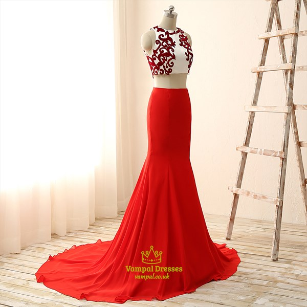 Red Two-Piece Sleeveless Mermaid Chiffon Prom Dress With Appliques