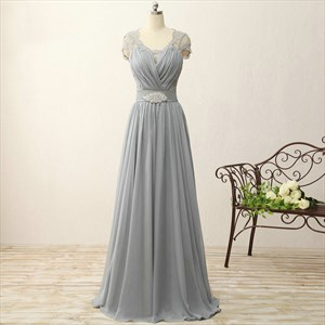 Grey Cap Sleeve A-Line Lace Chiffon Prom Dress With Illusion Bodice