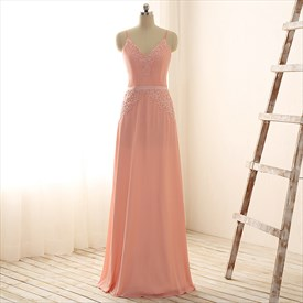Peach V-Neck Spaghetti Strap Beads & Appliques Chiffon Evening Dress