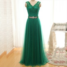 Elegant Emerald Green A-Line Lace Long Prom Dress With Tulle Overlay