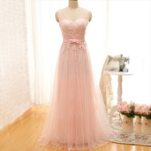 Blush Pink Sheer Sweetheart Applique Lace Overlay A-Line Prom Dress