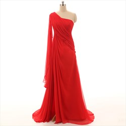 Red Elegant One Shoulder Floor Length Ruched Chiffon Evening Dress