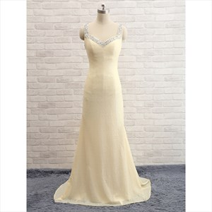 Light Yellow Sequin Sleeveless Beads Neckline Mermaid Long Prom Dress