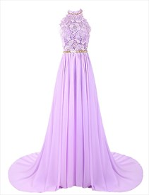 Lavender Backless Halter Lace Bodice Chiffon Floor Length Prom Dress