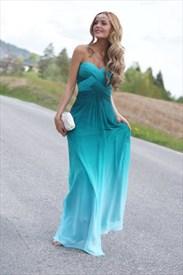 Elegant Strapless Sweetheart Empire Waist A-Line Chiffon Evening Dress