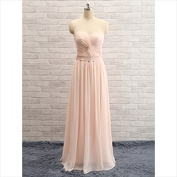 Blush Pink Strapless Sweetheart Floor Length Chiffon Bridesmaid Dress