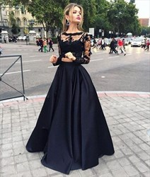 Elegant Long Sleeve Two-Piece A-Line Formal Dress With Illusion Bodice