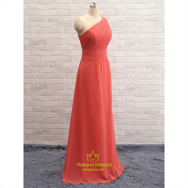 Coral One Shoulder Ruched Bodice Chiffon Bridesmaid Dress With Zipper