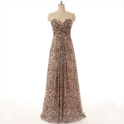 Leopard Print Strapless Sweetheart Floor Length A-Line Evening Dress