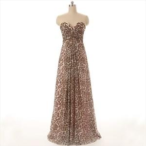 Leopard Print Strapless Sweetheart Floor Length A-Line Evening Dress