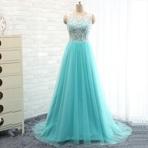 Elegant Aqua Blue Sleeveless A-Line Tulle Ball Gown With Lace Bodice