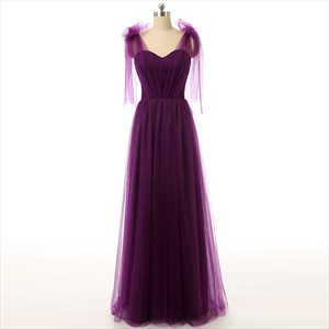 Grape Sweetheart Tulle A-Line Long Prom Gown With Embellished Shoulder