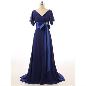 Sapphire Blue V-Neck Chiffon Evening Dress With Embellished Waistline