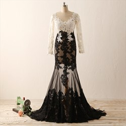 White And Black Illusion Long Sleeve Mermaid Long Lace Evening Dress