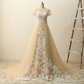 Short Sleeve Floor Length Tulle A-Line Ball Gown With Lace Appliques
