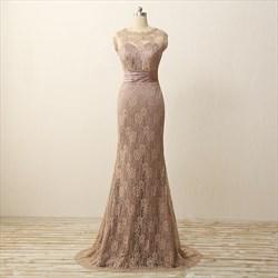 Elegant Sleeveless Empire Waist Lace Overlay Mermaid Long Prom Dress