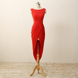 Elegant Red V Back Cap Sleeve High Low Bodycon Short Evening Dress